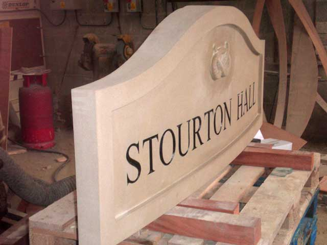 Carved Yorkshire stone house sign