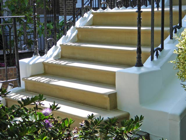 Yorkstone steps with a bullnose edge