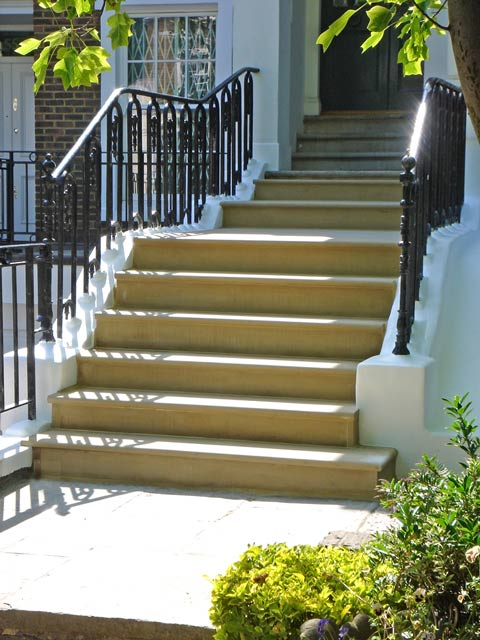 Yorkstone steps at a house in London