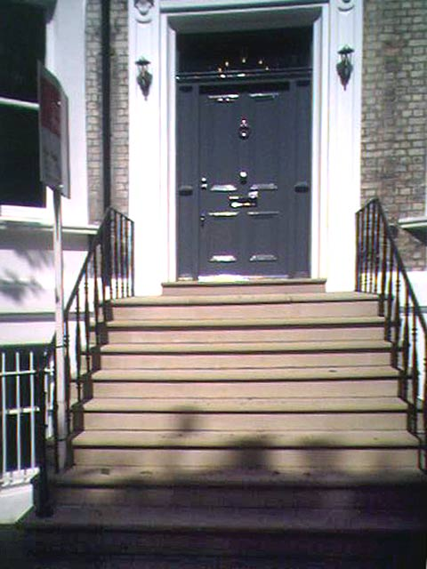 Yorkstone entrance steps at a London home