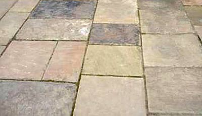 Reclaimed yorkstone pavement