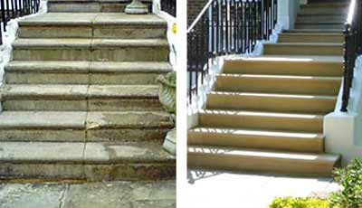 Before and after stone steps